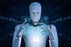 Robot con la tableta de cristal stock de ilustración