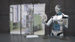 Robot con las ruedas de engranaje imagen de archivo libre de regalías