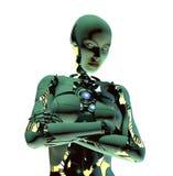 Robot con le braccia piegate sopra bianco Fotografie Stock Libere da Diritti