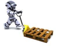 Robot con le caselle di trasporto Fotografia Stock