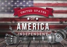 Robot con los pulgares para arriba contra la bandera americana para el Día de la Independencia Imagenes de archivo