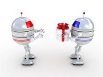 Robot con los regalos, imágenes 3D Imagen de archivo libre de regalías