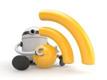 Robot con símbolo del RSS (o wifi) ilustración del vector