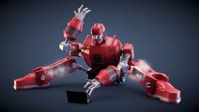 Robot con un computer Fotografie Stock
