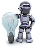 Robot con una lampadina Fotografia Stock Libera da Diritti