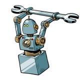 Robot con una llave stock de ilustración