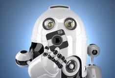 Robot con una macchina fotografica quadrata Contiene il percorso di ritaglio Immagine Stock