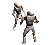 Robot conflict. Two robots converse stock illustration