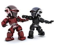 Robot in conflitto Immagini Stock