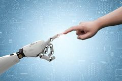 Robot connect to human. Connection concept with human finger connect to 3d rendering robot finger Royalty Free Stock Image