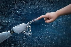 Robot connect to human. Connection concept with human finger connect to 3d rendering robot finger Royalty Free Stock Photo