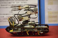 Robot contest. Creative & interscholastic cup contest of robot, in Miaoli,Taiwan stock photo