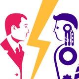 Robot contra ser humano Contra concepto ilustración del vector