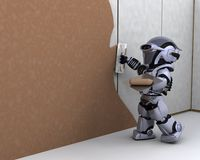 Robot contractor building a drywall Stock Photo
