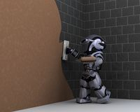 Robot contractor plastering a wall Royalty Free Stock Image