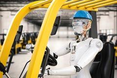 Robot control forklift truck. 3d rendering android robot control forklift truck Stock Photography