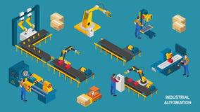 Robot conveyor video animation footage stock illustration