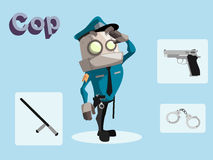 Robot cop. Cartoon  illustration of cop robot with gun, stick and handcuff Royalty Free Stock Image