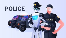 Free Robot Cop With Patrol Man Riot Police In Uniform Standing Together Artificial Intelligence Technology Concept Royalty Free Stock Photography - 221181977