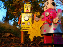 Robot couple colecting autumn leaves Stock Image