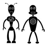 Robot couple simple character. Isolated vector illustration stock illustration