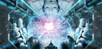 Robot cr?ant l'intelligence artificielle dans un rendu num?rique du cerveau 3D illustration de vecteur