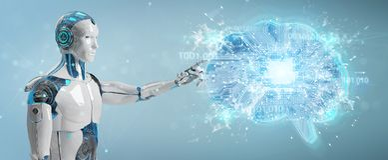 Robot creating artificial intelligence in a digital brain 3D ren. Robot on blurred background creating artificial intelligence in a digital brain 3D rendering