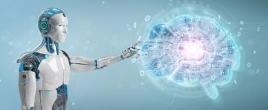 Robot creating artificial intelligence in a digital brain 3D rendering. Robot on blurred background creating artificial intelligence in a digital brain 3D vector illustration