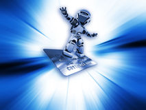 Robot on credit card Royalty Free Stock Images