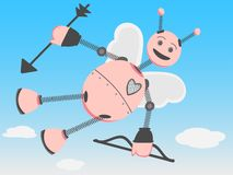 Robot Cupid flying through day sky with bow arrow Royalty Free Stock Photography
