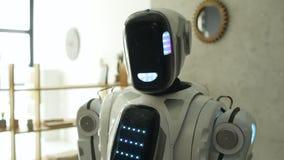 Robot curioso que mira en cámara