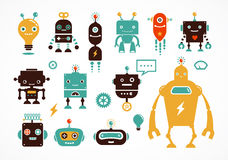 Robot cute icons and characters Stock Photo