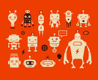 Robot cute icons and characters Royalty Free Stock Images