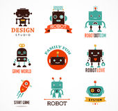 Robot cute icons and characters Royalty Free Stock Image