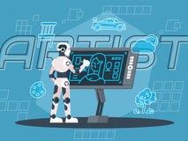 Robot Artist Illustration stock illustration