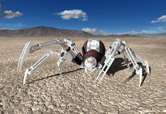 Robot Cyborg Android Spider Illustration. Illustration of a mechanical robot cyborg android spider in a desolate desert. The machine is a predator bug or insect Stock Photography