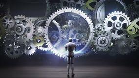 Robot, cyborg che sta le grandi ruote di ingranaggio, ruote di ingranaggio di collegamento intelligenza artificiale, tecnologie i