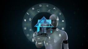 Robot, cyborg che tocca l'elettrodomestico astuto di IoT, Internet delle cose, intelligenza artificiale 2 video d archivio