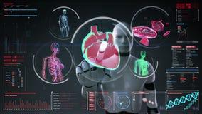 Robot, cyborg dotyka cyfrowego ekran, Żeńskiego ciała skanerowania naczynie krwionośne, limfatyczny, kierowy, krążeniowy system w ilustracja wektor