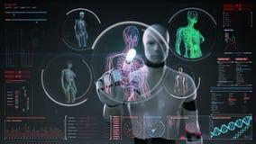 Robot, cyborg dotyka cyfrowego ekran, Żeńskiego ciała skanerowania naczynie krwionośne, limfatyczny, krążeniowy system w cyfroweg ilustracja wektor