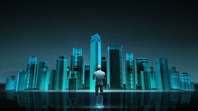 Robot cyborg front of construction building city skyline and make city in animation. neon blue nighttime. Robot cyborg standing on high way, road. build royalty free illustration
