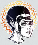 Robot or cyborg girl portrait illustration. Royalty Free Stock Image