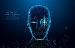 Robot or cyborg man with AI. Robot with artificial intelligence.  Machine, learning. Biometric scanning, 3D scanning. Face ID. stock illustration