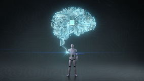 Robot cyborg open palm, brain connected CPU chip circuit board, grow artificial intelligence. body scene. royalty free illustration