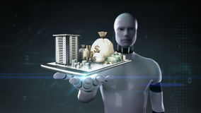 Robot cyborg open palm, Construction building with cash, money, loan,debt, online finance on mobile. stock illustration