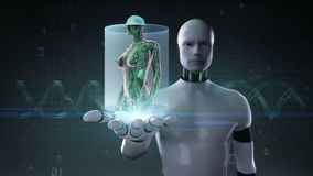 Robot cyborg open palm, Female Human body scanning lymphatic system. Blue X-ray light. stock footage