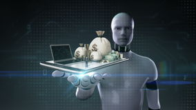 Robot cyborg open palm, Online banking, loan, debt with cash, money, bills on mobile.tablet.