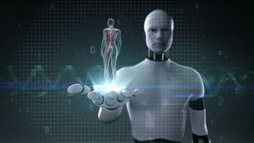 Robot, cyborg open palm, Roterend Vrouwelijk Menselijk cardiovasculair systeem, bloedsysteem, Blauw Röntgenstraallicht vector illustratie