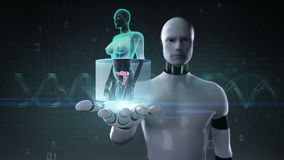 Robot cyborg open palm, Zooming female body scanning womb, blue X-ray image. Robot cyborg open palm, Zooming female body scanning womb stock footage