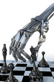Robot or cyborg plays a chess. High technology illustration Stock Photography